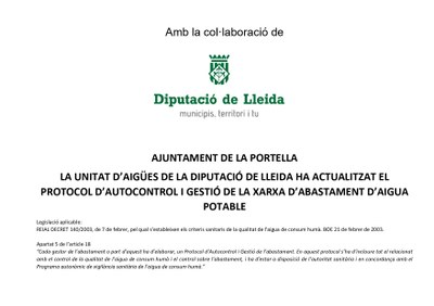 ACTUALITZACIÓ PROTOCOL D'AUTOCONTROL I GESTIÓ DE LA XARXA D'AIGUA POTABLE DE LA PORTELLA