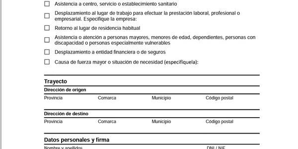 Certificat autoresponsable de desplaçament - COVID-19