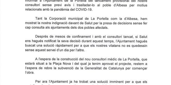 Circular informativa sobre el consultori mèdic de La Portella