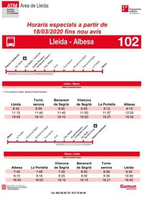 Nous horaris transport Albesa - Lleida