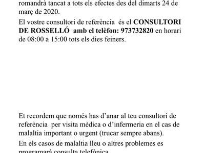 Tancament consultori mèdic de la Portella